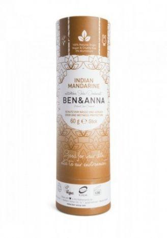 BEN&ANNA Naturalny Dezodorant na Bazie Sody INDIAN MANDARINE (sztyft kartonowy) 0% Aluminium 60g